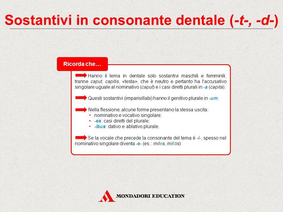 Sostantivi in consonante dentale (-t-, -d-) I sostantivi che hanno il tema in consonante -t- o -d- hanno il nominativo singolare in -s, aggiunta direttamente al tema senza vocale tematica.