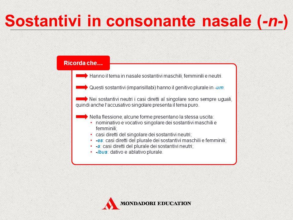 Sostantivi in consonante nasale (-n-) I sostantivi che hanno il tema in consonante -n- hanno il nominativo singolare uguale al tema puro, cioè non aggiungono alcuna desinenza.
