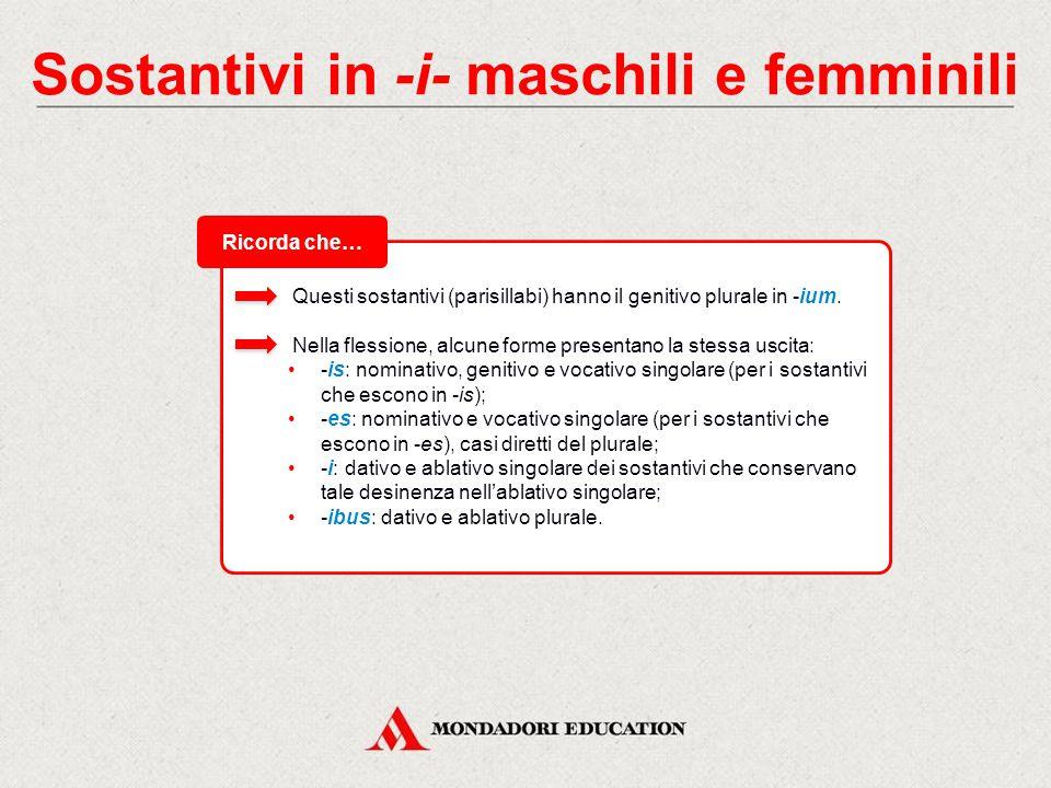 Sostantivi in -i- maschili e femminili Il tema -i- di questi sostantivi si fonde con le desinenze.