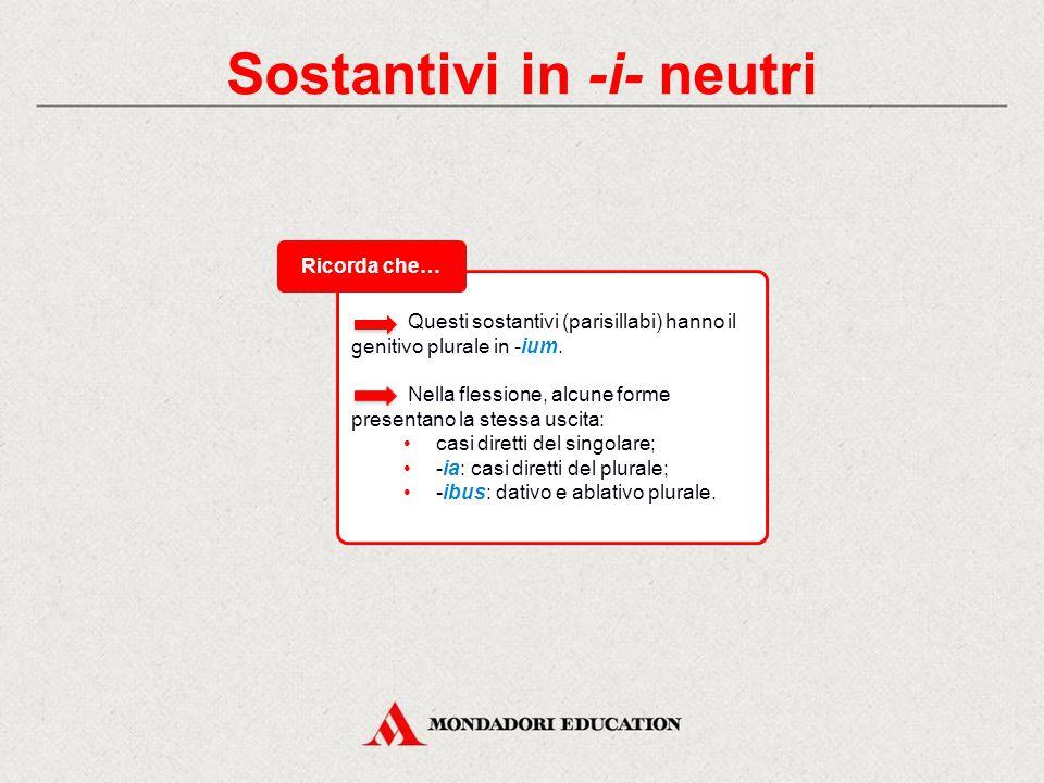Sostantivi in -i- neutri Il tema -i- di questi sostantivi si fonde con le desinenze.