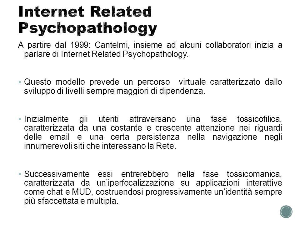 Italia: Generalmente, sembra che la prevalenza di dipendenza da Internet sia del 4,6- 4,7% tra gli adolescenti; tra gli studenti universitari, invece, sembrerebbe variare tre il 13 ed il 18,4%; tra la popolazione più grande varia tra il 6% ed il 15%.