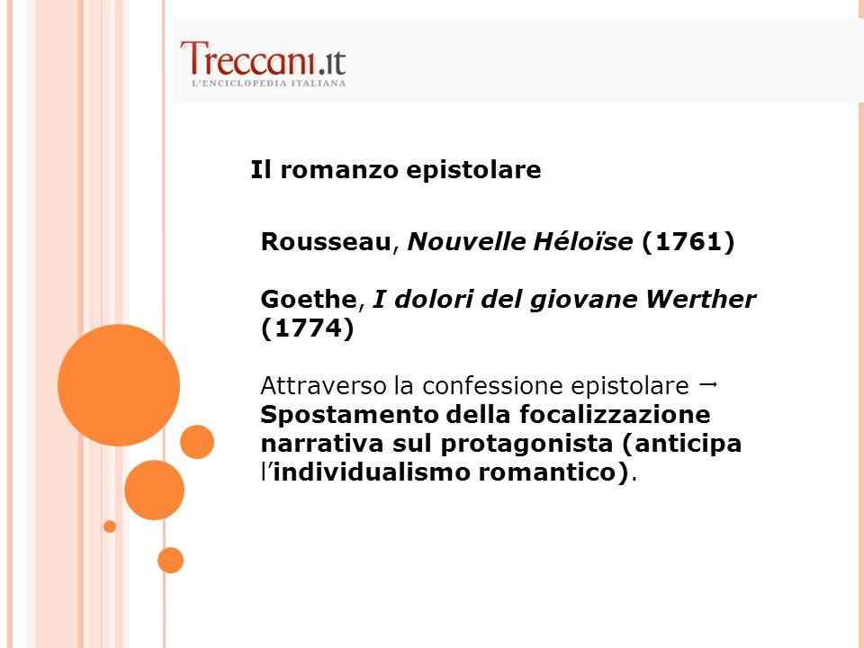 Rousseau, Nouvelle Héloïse (1761) Goethe, I dolori del giovane Werther (1774) Attraverso la confessione epistolare  Spostamento della focalizzazione