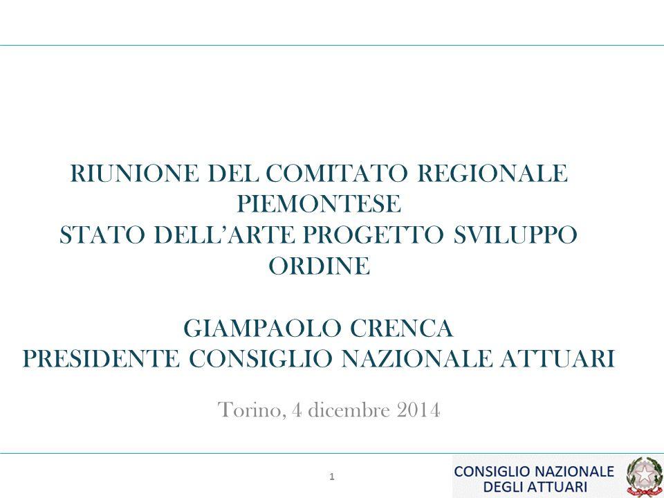 1 RIUNIONE DEL COMITATO REGIONALE PIEMONTESE STATO DELL'ARTE PROGETTO SVILUPPO ORDINE GIAMPAOLO CRENCA PRESIDENTE CONSIGLIO NAZIONALE ATTUARI Torino, 4 dicembre 2014