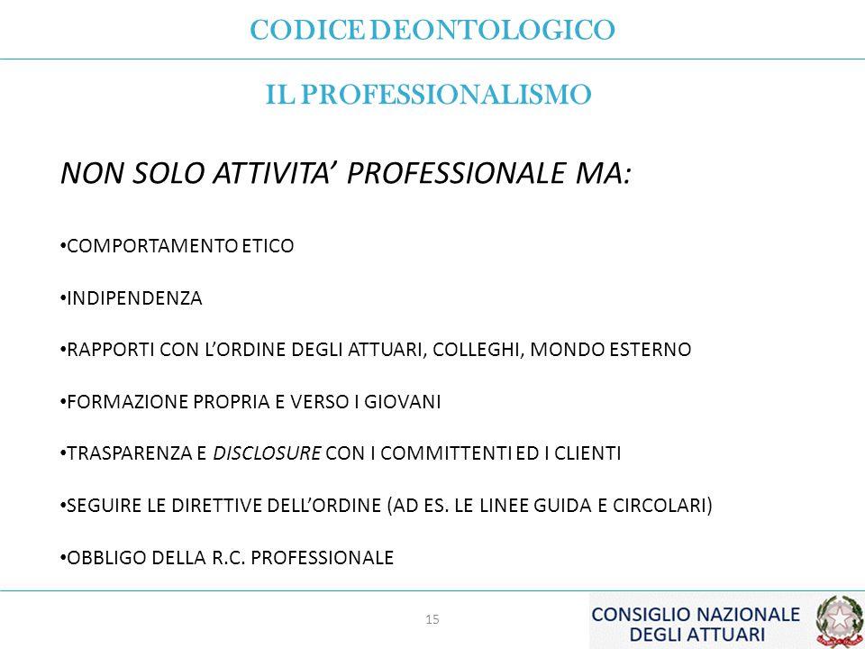 CODICE DEONTOLOGICO 15 IL PROFESSIONALISMO NON SOLO ATTIVITA' PROFESSIONALE MA: COMPORTAMENTO ETICO INDIPENDENZA RAPPORTI CON L'ORDINE DEGLI ATTUARI, COLLEGHI, MONDO ESTERNO FORMAZIONE PROPRIA E VERSO I GIOVANI TRASPARENZA E DISCLOSURE CON I COMMITTENTI ED I CLIENTI SEGUIRE LE DIRETTIVE DELL'ORDINE (AD ES.