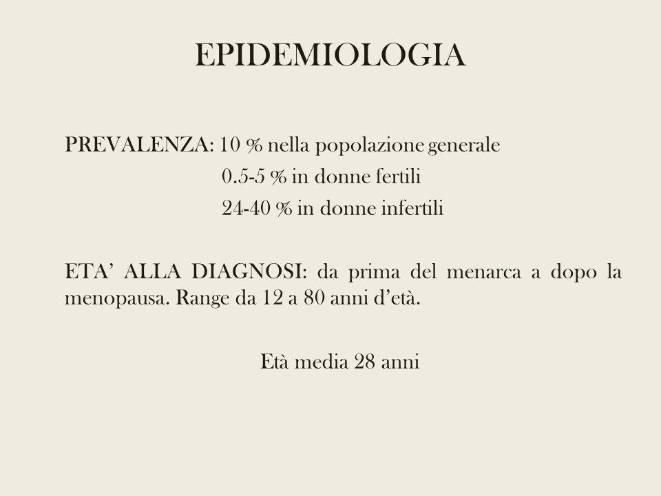 PREVALENZA: 10 % nella popolazione generale 0.5-5 % in donne fertili 24-40 % in donne infertili ETA' ALLA DIAGNOSI: da prima del menarca a dopo la menopausa.