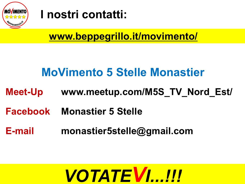I nostri contatti: MoVimento 5 Stelle Monastier Meet-Upwww.meetup.com/M5S_TV_Nord_Est/ FacebookMonastier 5 Stelle E-mailmonastier5stelle@gmail.com www.beppegrillo.it/movimento/ VOTATE V I...!!!