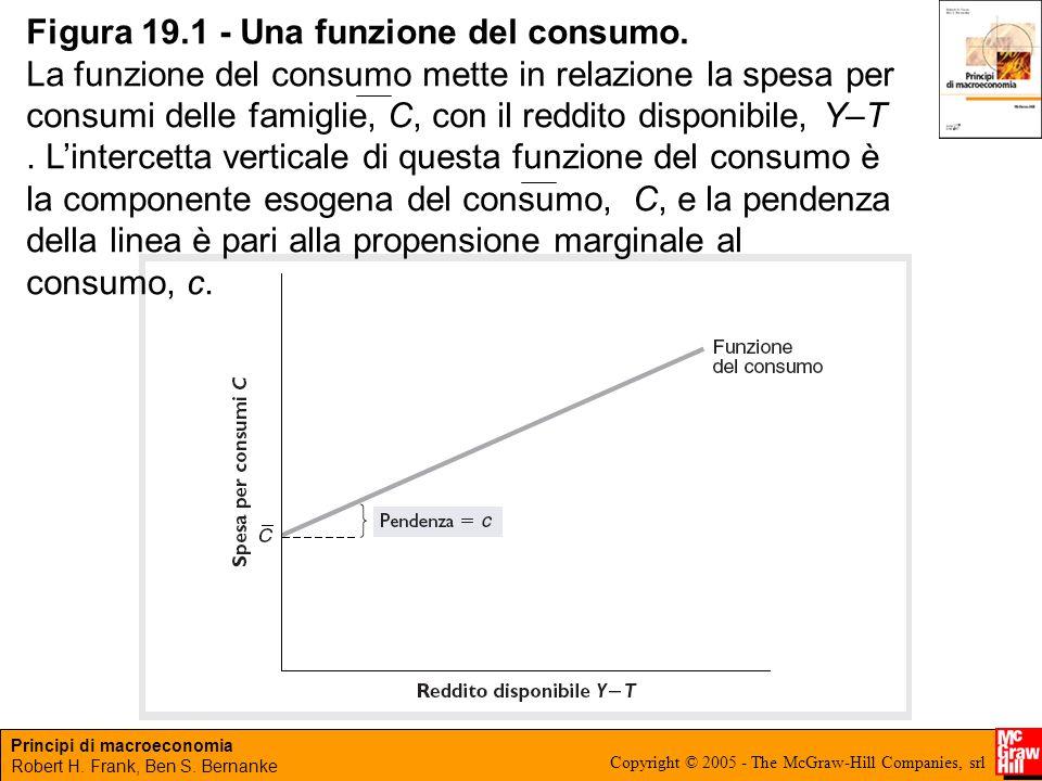 Principi di macroeconomia Robert H. Frank, Ben S. Bernanke Copyright © 2005 - The McGraw-Hill Companies, srl Figura 19.1 - Una funzione del consumo. L
