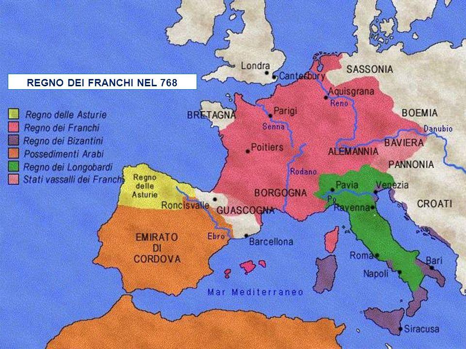 PIPINO IL BREVE 756 COMBATTE IN ITALIA CONTRO I LONGOBARDI IL PAPA LO CONSACRA RE 752 e 754 DONA I TERRITORI ESARCATO E PENTAPOLI AL PAPA NEL 756 INIZ