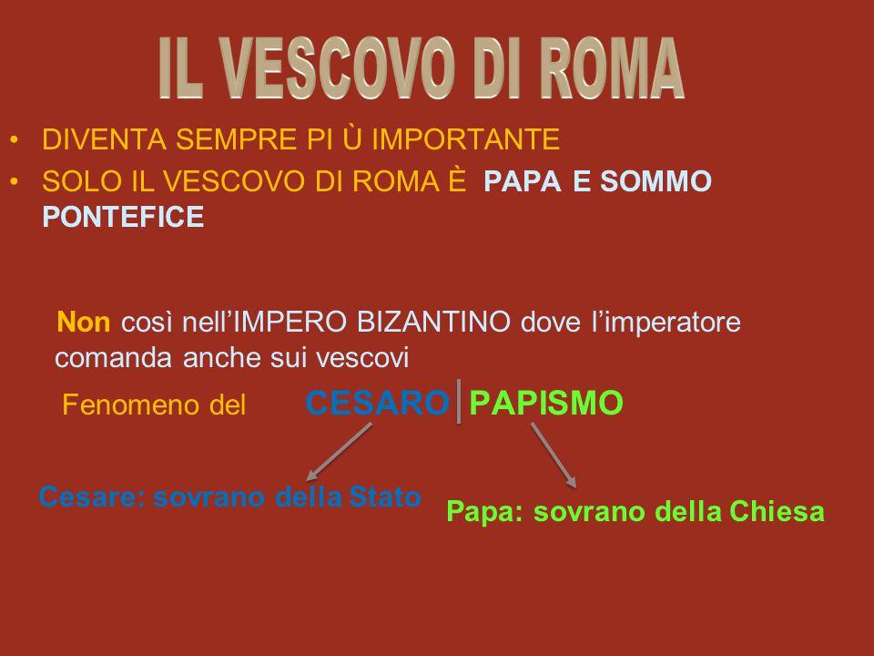 DIVENTA SEMPRE PI Ù IMPORTANTE SOLO IL VESCOVO DI ROMA È PAPA E SOMMO PONTEFICE Non così nell'IMPERO BIZANTINO dove l'imperatore comanda anche sui ves