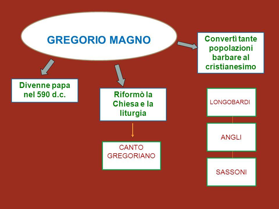 GREGORIO MAGNO Divenne papa nel 590 d.c. Riformò la Chiesa e la liturgia Convertì tante popolazioni barbare al cristianesimo ANGLI SASSONI LONGOBARDI