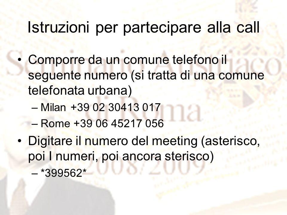 Istruzioni per partecipare alla call Comporre da un comune telefono il seguente numero (si tratta di una comune telefonata urbana) –Milan +39 02 30413