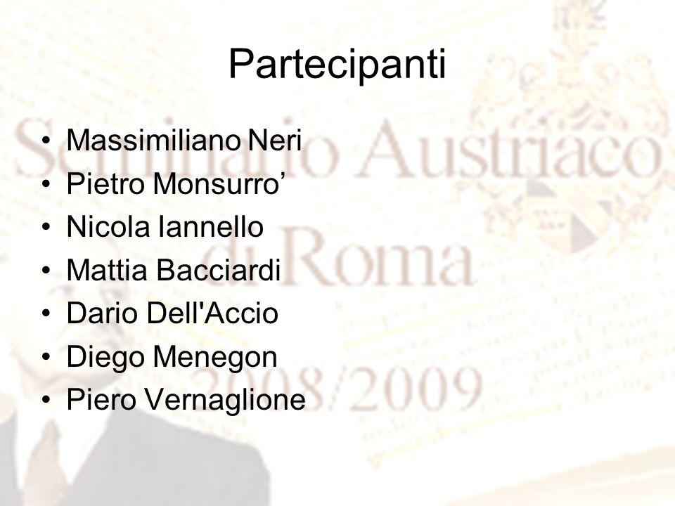 Partecipanti Massimiliano Neri Pietro Monsurro' Nicola Iannello Mattia Bacciardi Dario Dell'Accio Diego Menegon Piero Vernaglione