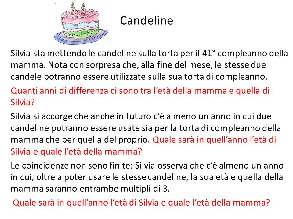 Candeline Silvia sta mettendo le candeline sulla torta per il 41° compleanno della mamma.