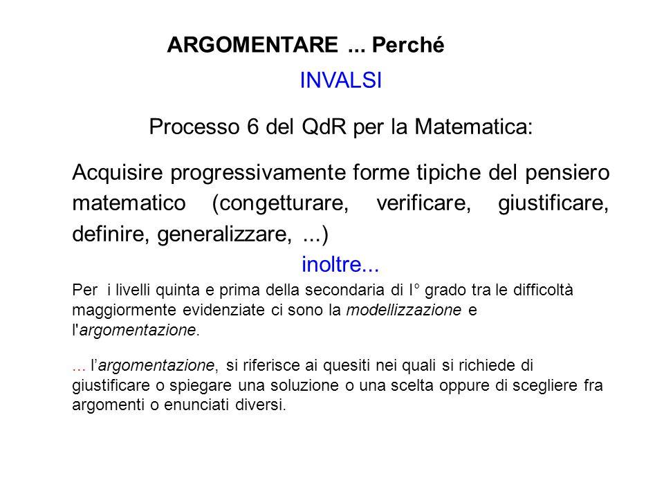 INVALSI Processo 6 del QdR per la Matematica: Acquisire progressivamente forme tipiche del pensiero matematico (congetturare, verificare, giustificare, definire, generalizzare,...) inoltre...