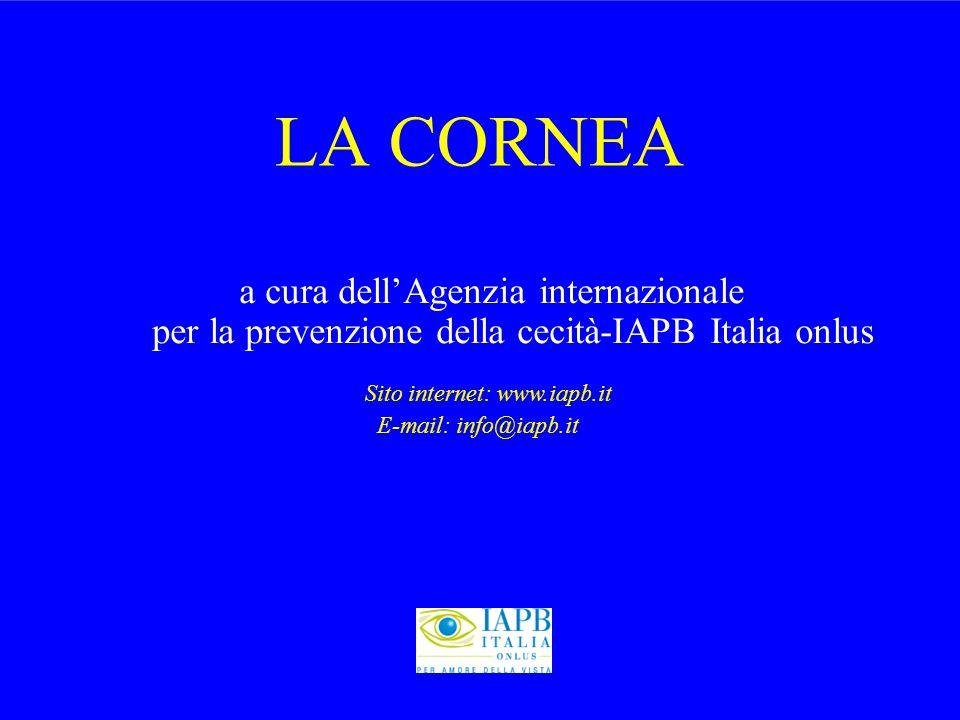 LACORNEA a cura dell'Agenzia internazionale per la prevenzione della cecità-IAPB Italia onlus Sito internet: www.iapb.it E-mail: info@iapb.it