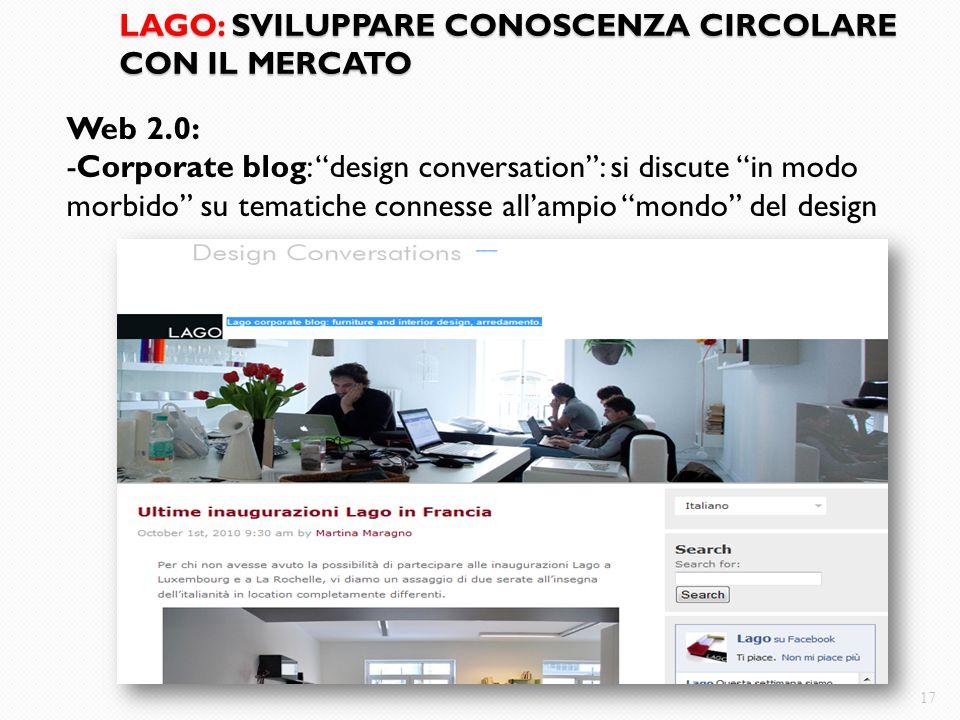 """LAGO: SVILUPPARE CONOSCENZA CIRCOLARE CON IL MERCATO 17 Web 2.0: -Corporate blog: """"design conversation"""": si discute """"in modo morbido"""" su tematiche con"""