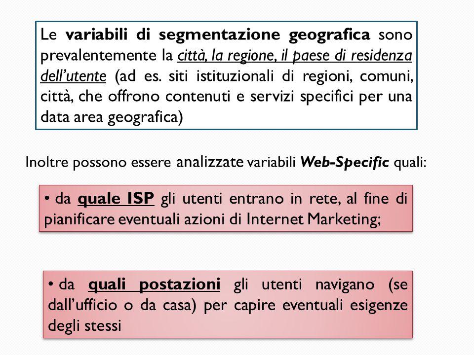 Le variabili di segmentazione geografica sono prevalentemente la città, la regione, il paese di residenza dell'utente (ad es. siti istituzionali di re