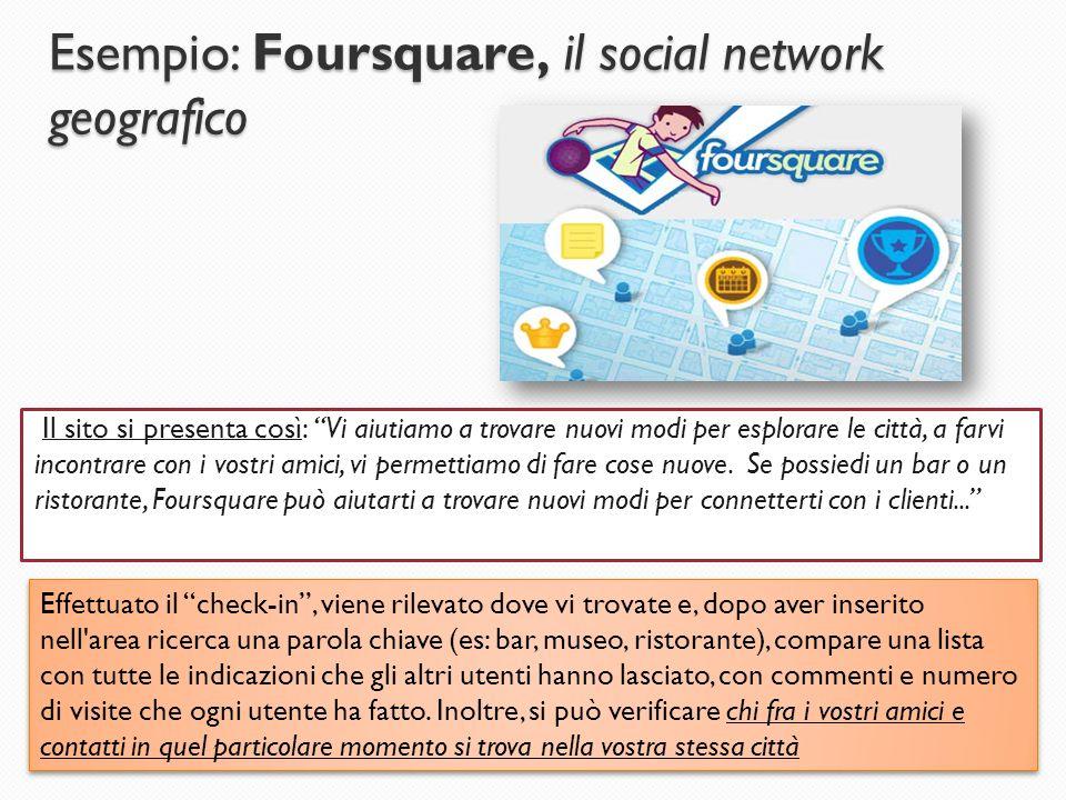 """Esempio: Foursquare, il social network geografico Il sito si presenta così: """"Vi aiutiamo a trovare nuovi modi per esplorare le città, a farvi incontra"""