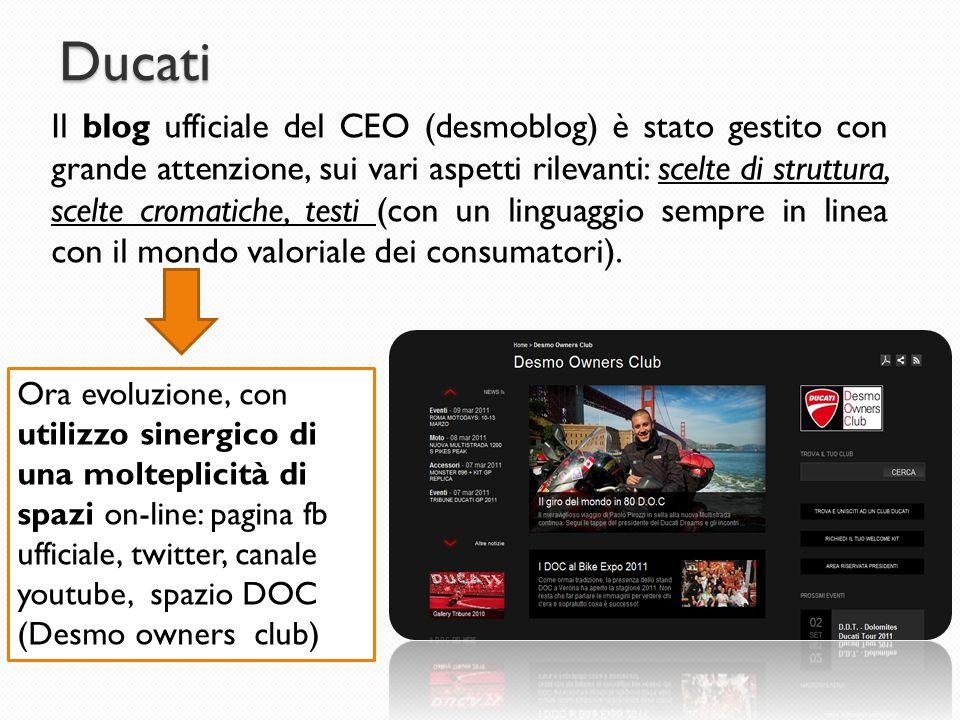Ducati Il blog ufficiale del CEO (desmoblog) è stato gestito con grande attenzione, sui vari aspetti rilevanti: scelte di struttura, scelte cromatiche