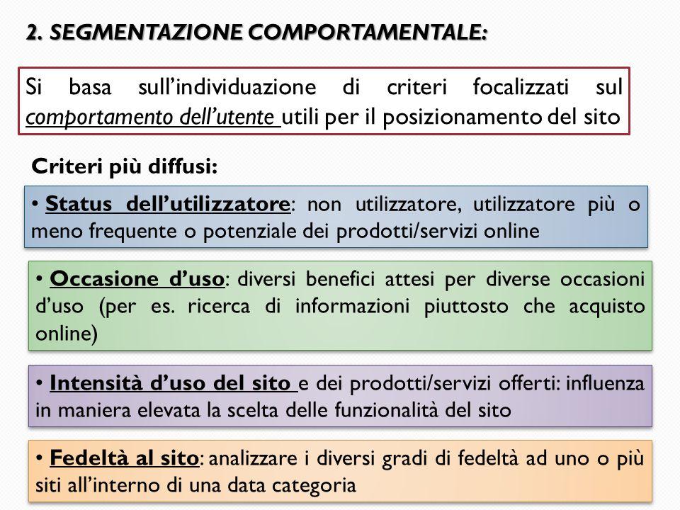 2. SEGMENTAZIONE COMPORTAMENTALE: Criteri più diffusi: Status dell'utilizzatore: non utilizzatore, utilizzatore più o meno frequente o potenziale dei