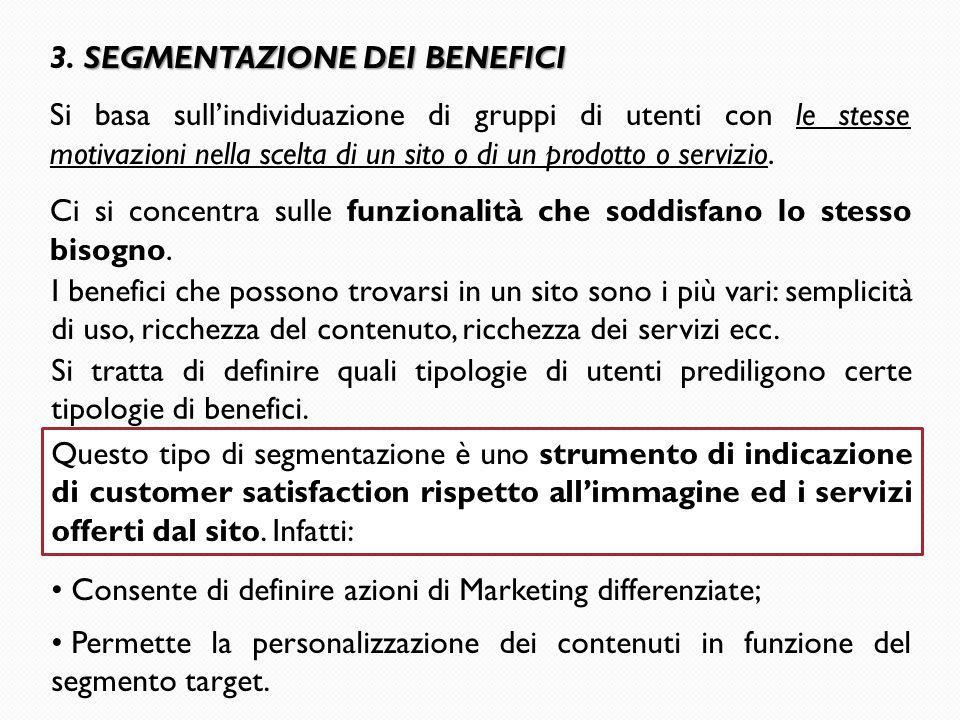 SEGMENTAZIONE DEI BENEFICI 3. SEGMENTAZIONE DEI BENEFICI Si basa sull'individuazione di gruppi di utenti con le stesse motivazioni nella scelta di un