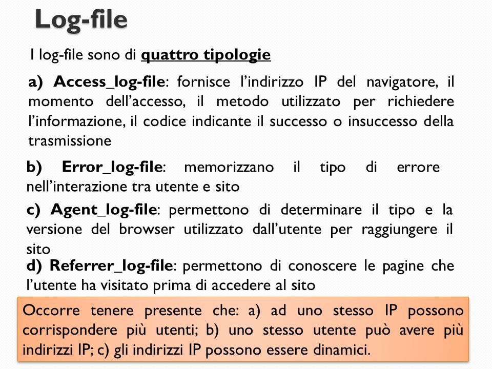 Log-file I log-file sono di quattro tipologie a) Access_log-file: fornisce l'indirizzo IP del navigatore, il momento dell'accesso, il metodo utilizzat