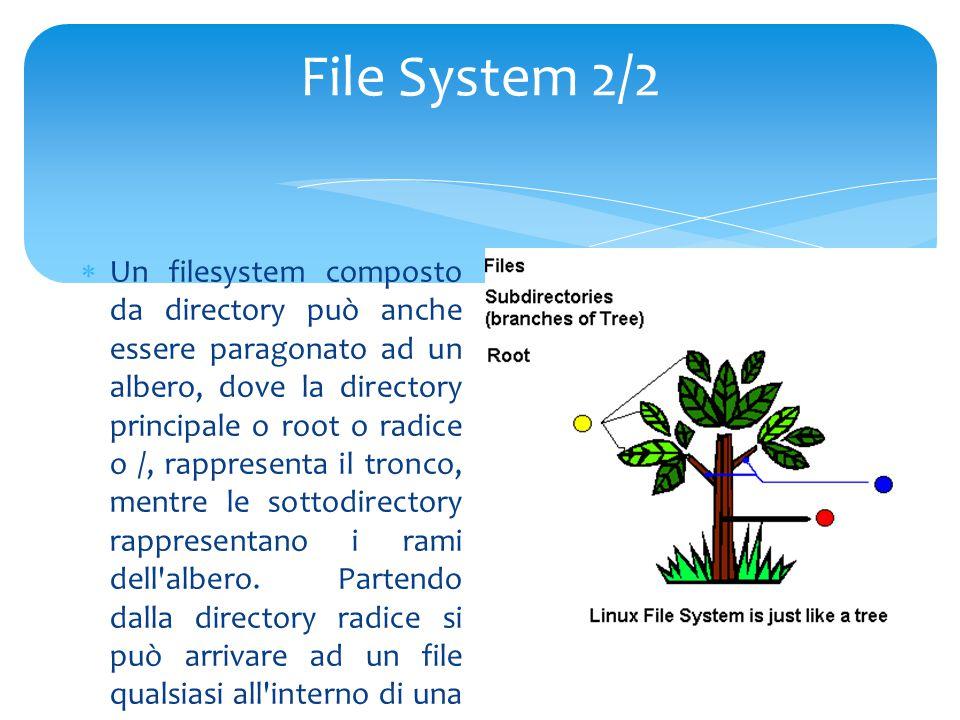 File System 2/2  Un filesystem composto da directory può anche essere paragonato ad un albero, dove la directory principale o root o radice o /, rappresenta il tronco, mentre le sottodirectory rappresentano i rami dell albero.