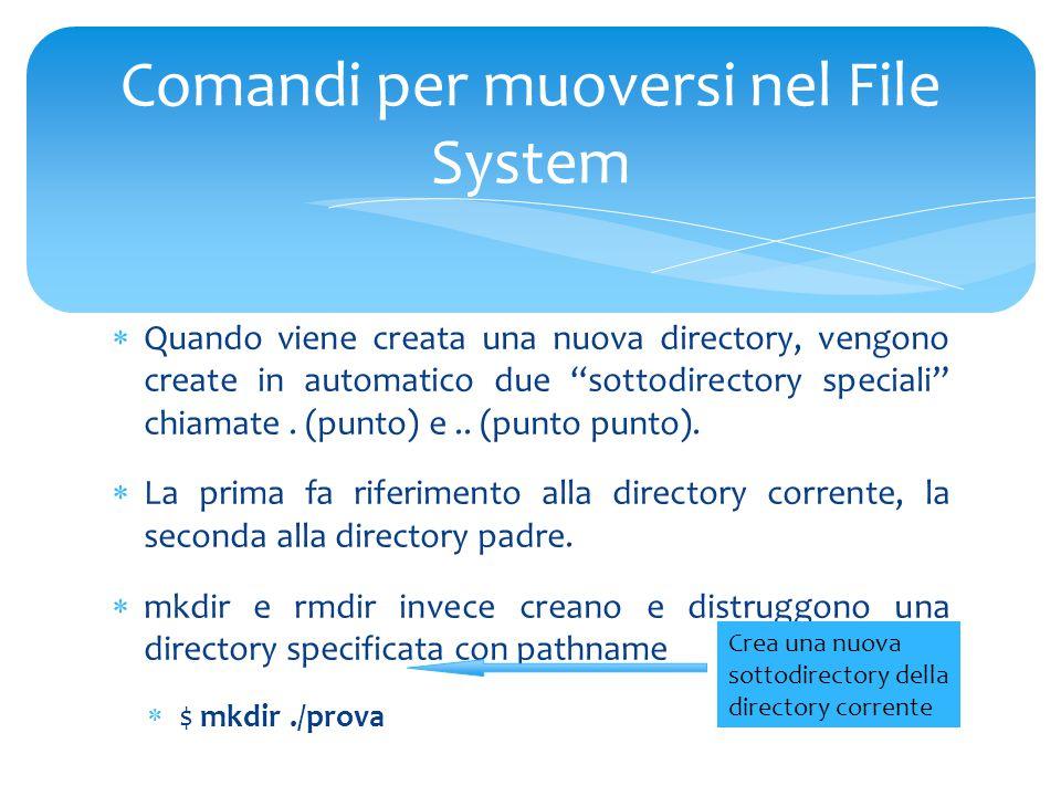  Quando viene creata una nuova directory, vengono create in automatico due sottodirectory speciali chiamate.