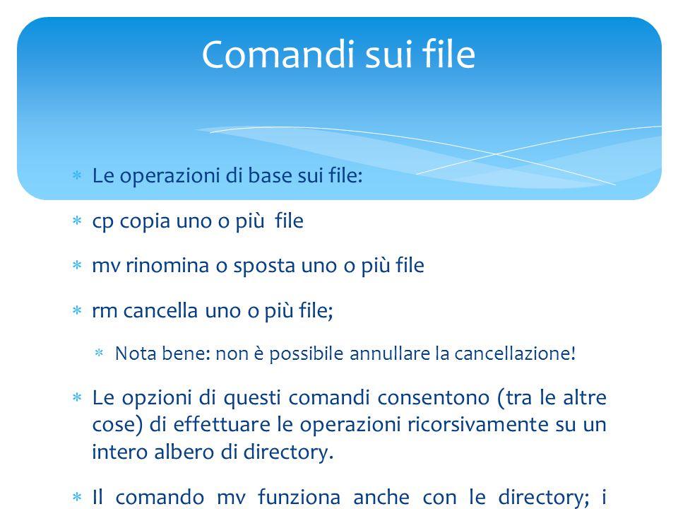  Le operazioni di base sui file:  cp copia uno o più file  mv rinomina o sposta uno o più file  rm cancella uno o più file;  Nota bene: non è possibile annullare la cancellazione.