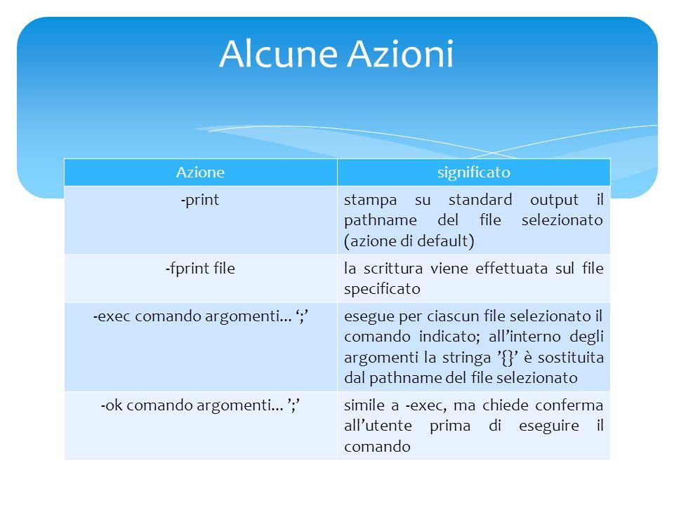 Azionesignificato -print stampa su standard output il pathname del file selezionato (azione di default) -fprint file la scrittura viene effettuata sul file specificato -exec comando argomenti...