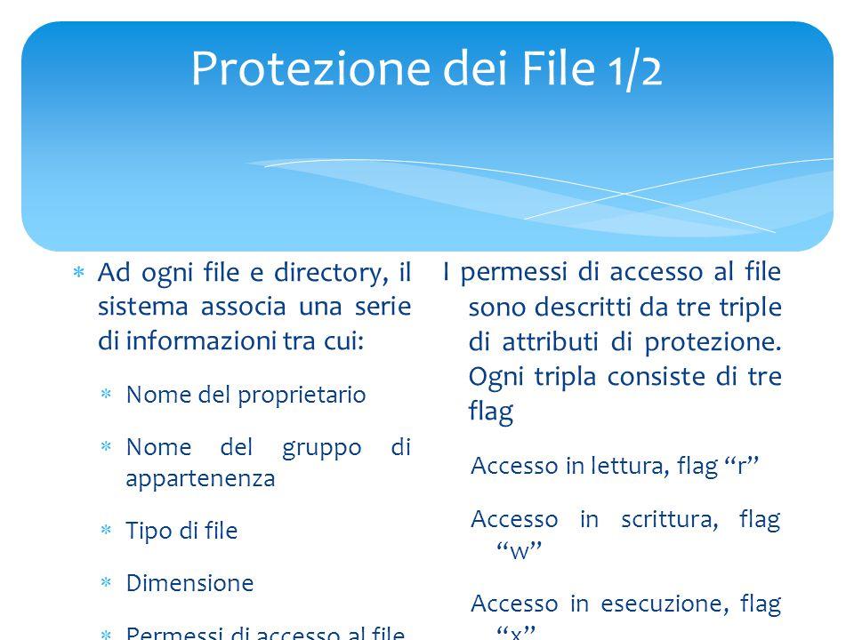 Protezione dei File 1/2  Ad ogni file e directory, il sistema associa una serie di informazioni tra cui:  Nome del proprietario  Nome del gruppo di appartenenza  Tipo di file  Dimensione  Permessi di accesso al file  Un indirizzo ai blocchi del disco su cui è memorizzato il contenuto del file I permessi di accesso al file sono descritti da tre triple di attributi di protezione.