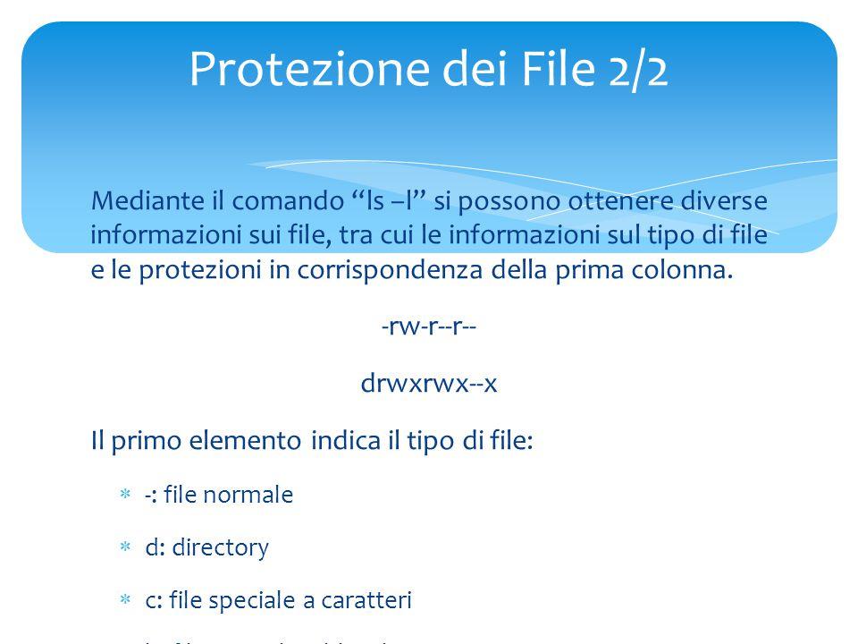 Mediante il comando ls –l si possono ottenere diverse informazioni sui file, tra cui le informazioni sul tipo di file e le protezioni in corrispondenza della prima colonna.