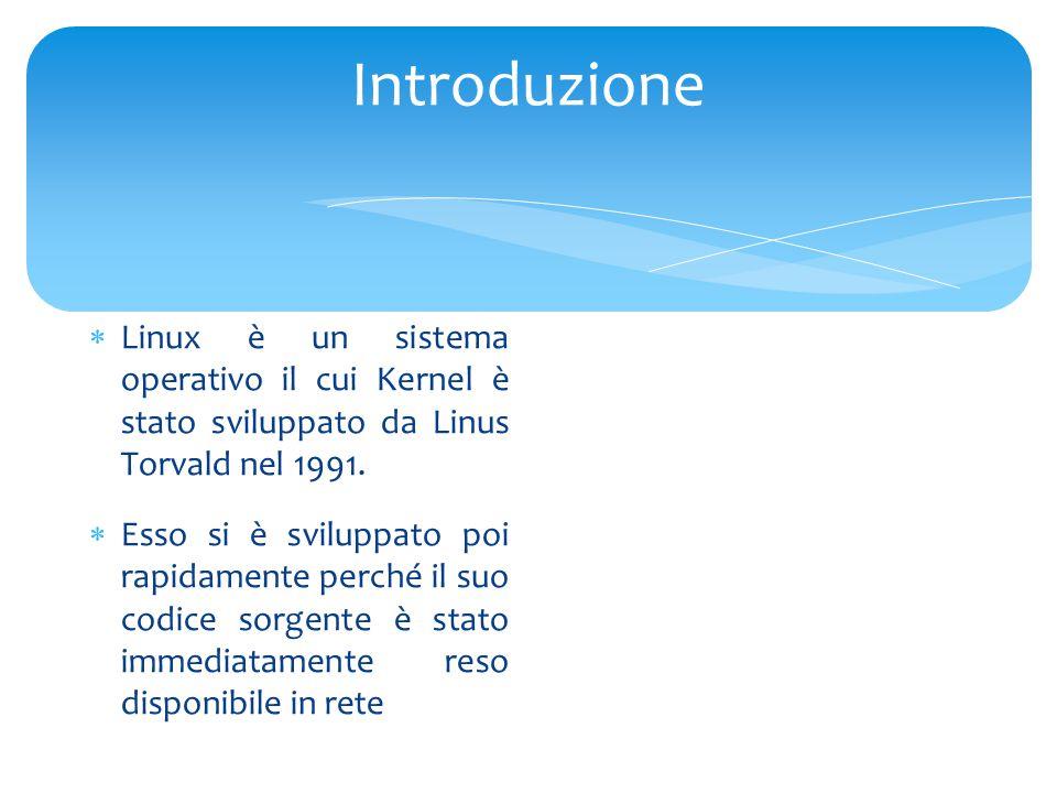 Introduzione  Linux è un sistema operativo il cui Kernel è stato sviluppato da Linus Torvald nel 1991.