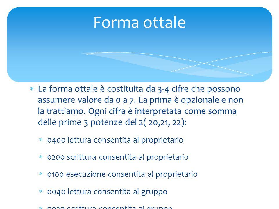  La forma ottale è costituita da 3-4 cifre che possono assumere valore da 0 a 7.
