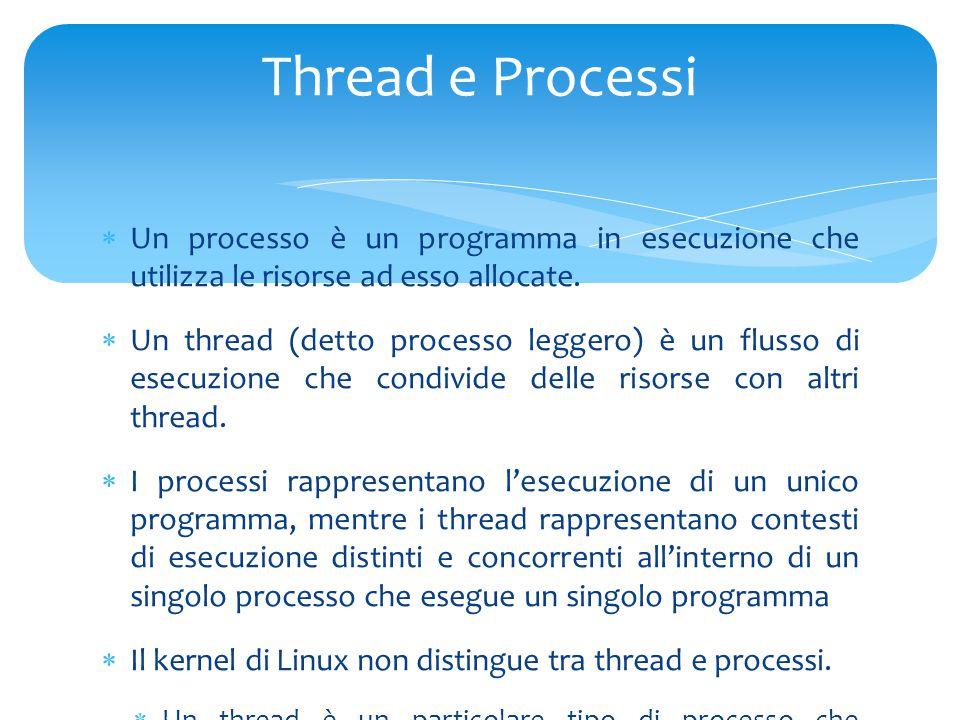  Un processo è un programma in esecuzione che utilizza le risorse ad esso allocate.