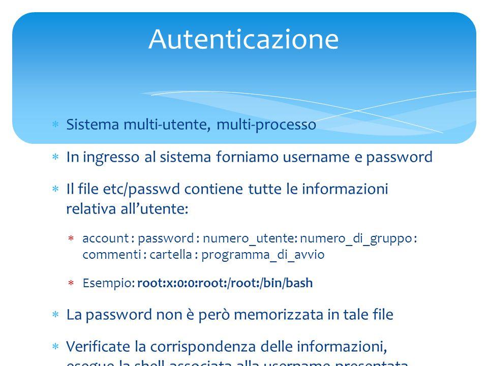  Sistema multi-utente, multi-processo  In ingresso al sistema forniamo username e password  Il file etc/passwd contiene tutte le informazioni relativa all'utente:  account : password : numero_utente: numero_di_gruppo : commenti : cartella : programma_di_avvio  Esempio: root:x:0:0:root:/root:/bin/bash  La password non è però memorizzata in tale file  Verificate la corrispondenza delle informazioni, esegue la shell associata alla username presentata Autenticazione