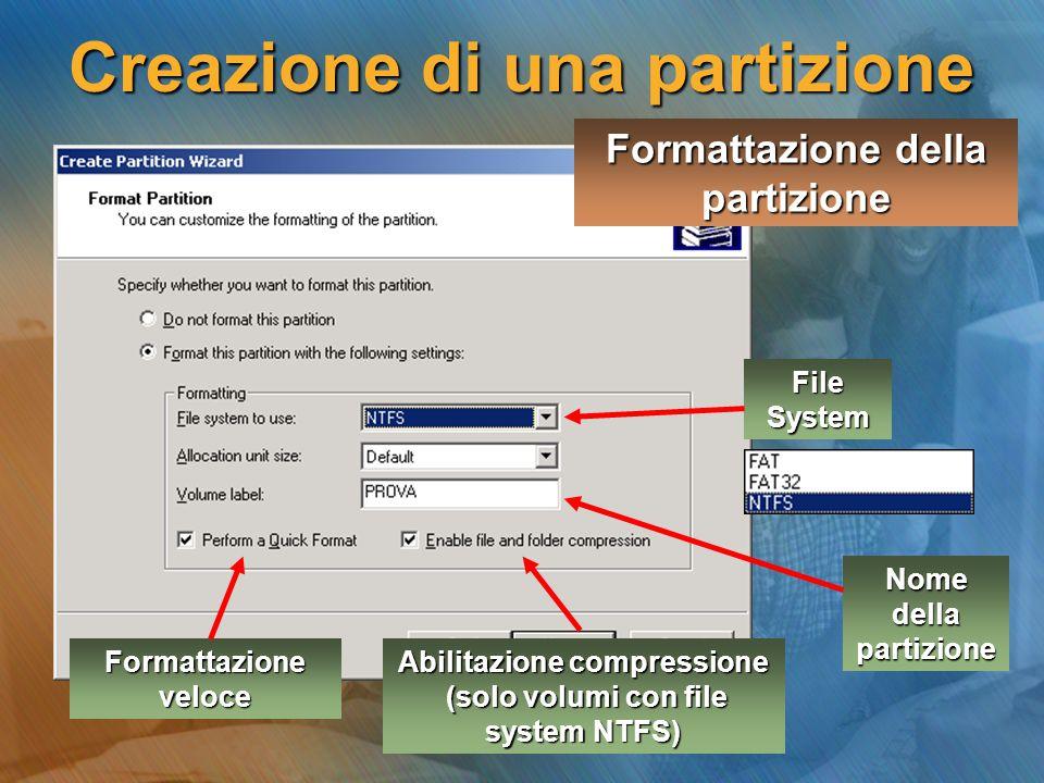 Formattazione della partizione File System Formattazione veloce Abilitazione compressione (solo volumi con file system NTFS) (solo volumi con file sys