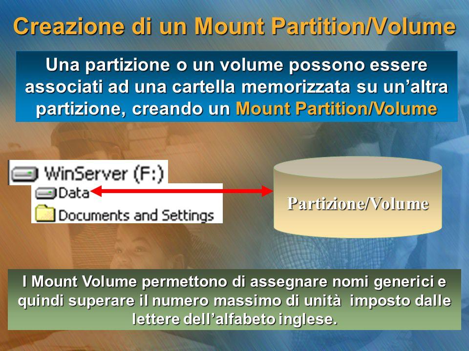 Una partizione o un volume possono essere associati ad una cartella memorizzata su un'altra partizione, creando un Mount Partition/Volume I Mount Volu