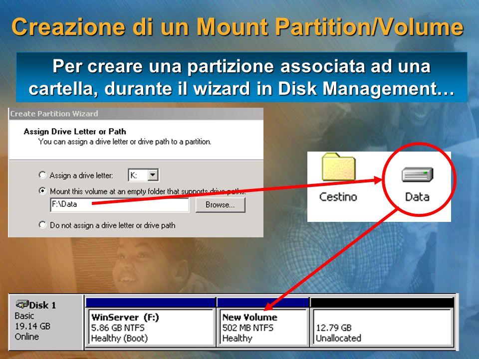 Per creare una partizione associata ad una cartella, durante il wizard in Disk Management… Creazione di un Mount Partition/Volume