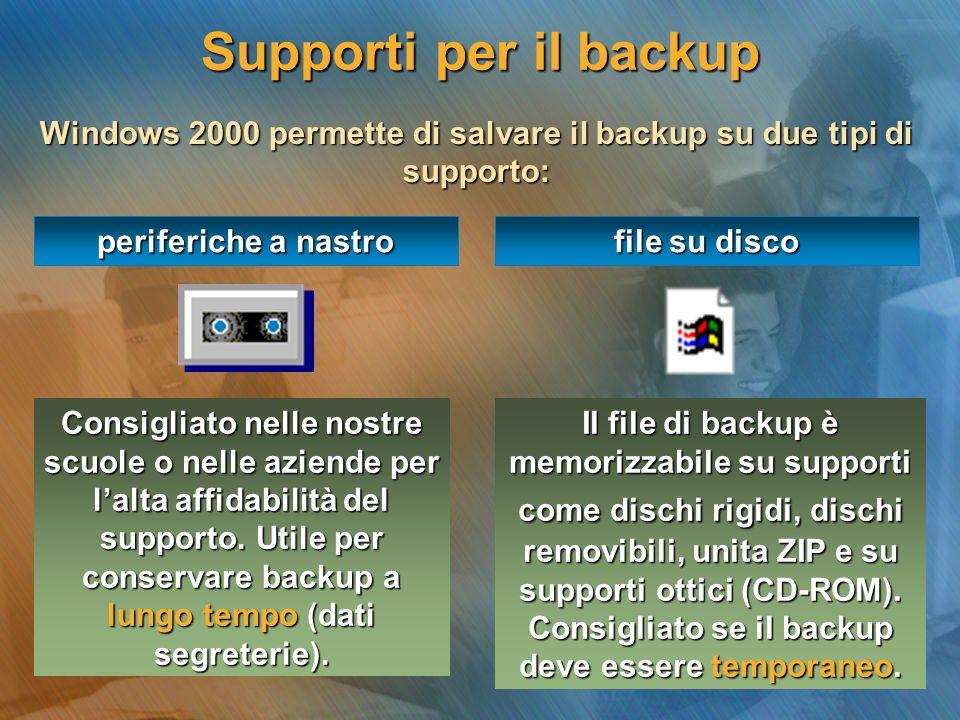 Supporti per il backup Windows 2000 permette di salvare il backup su due tipi di supporto: periferiche a nastro file su disco Il file di backup è memo
