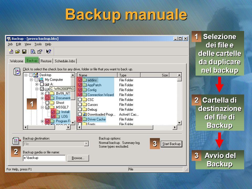 Backup manuale Selezione dei file e delle cartelle da duplicare nel backup Cartella di destinazione del file di Backup Avvio del Backup Avvio del Back