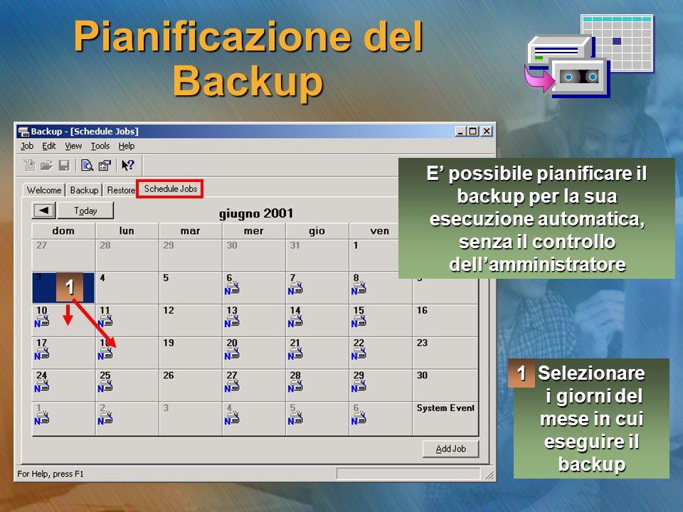 Pianificazione del Backup Selezionare i giorni del mese in cui eseguire il backup i giorni del mese in cui eseguire il backup1 1 E' possibile pianific