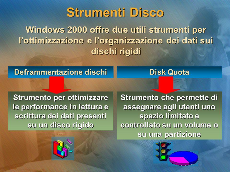 Strumenti Disco Windows 2000 offre due utili strumenti per l'ottimizzazione e l'organizzazione dei dati sui dischi rigidi Strumento per ottimizzare le