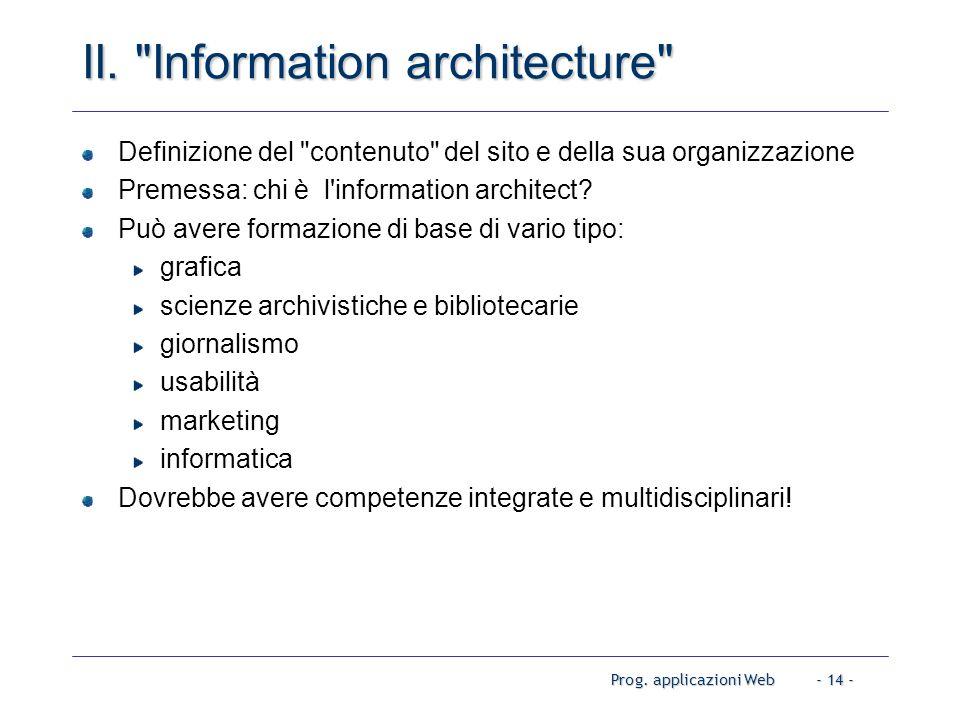 Prog. applicazioni Web- 14 - II.