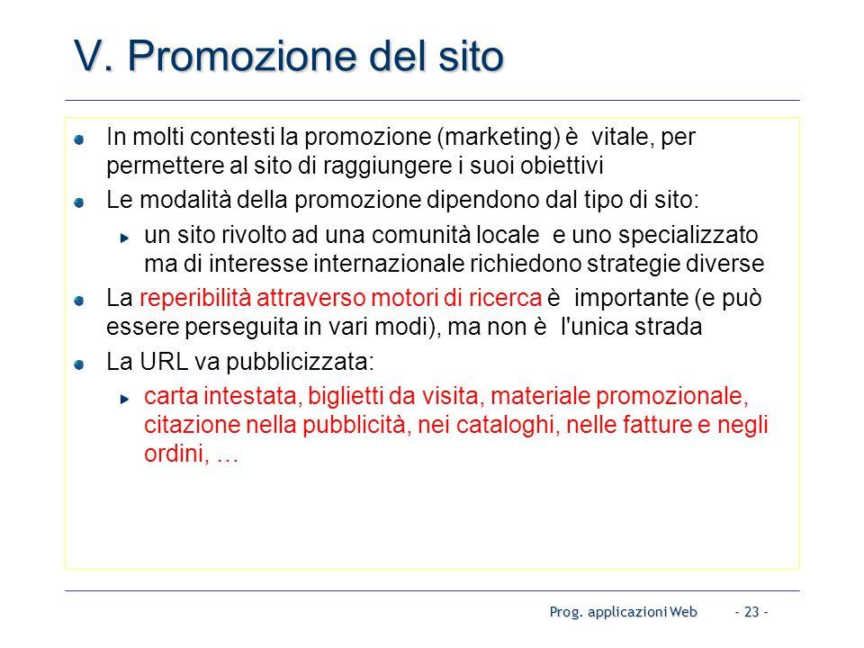 Prog. applicazioni Web- 23 - V.