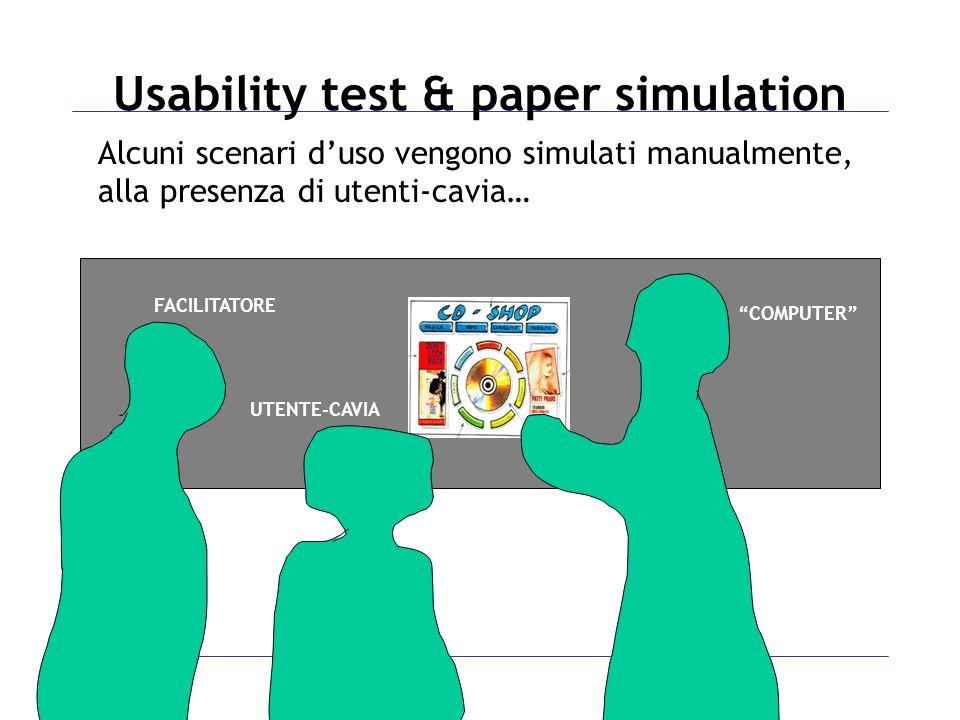 Alcuni scenari d'uso vengono simulati manualmente, alla presenza di utenti-cavia… COMPUTER FACILITATORE UTENTE-CAVIA Usability test & paper simulation