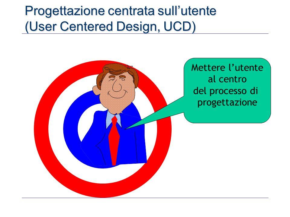 Progettazione centrata sull'utente (User Centered Design, UCD) Mettere l'utente al centro del processo di progettazione