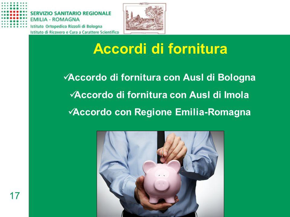 17 Accordi di fornitura Accordo di fornitura con Ausl di Bologna Accordo di fornitura con Ausl di Imola Accordo con Regione Emilia-Romagna