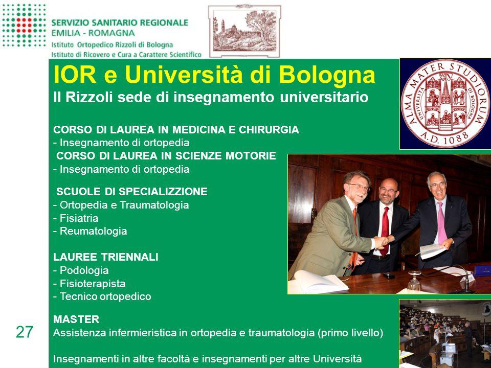 27 IOR e Università di Bologna CORSO DI LAUREA IN MEDICINA E CHIRURGIA - Insegnamento di ortopedia CORSO DI LAUREA IN SCIENZE MOTORIE - Insegnamento di ortopedia SCUOLE DI SPECIALIZZIONE - Ortopedia e Traumatologia - Fisiatria - Reumatologia LAUREE TRIENNALI - Podologia - Fisioterapista - Tecnico ortopedico MASTER Assistenza infermieristica in ortopedia e traumatologia (primo livello) Insegnamenti in altre facoltà e insegnamenti per altre Università Il Rizzoli sede di insegnamento universitario