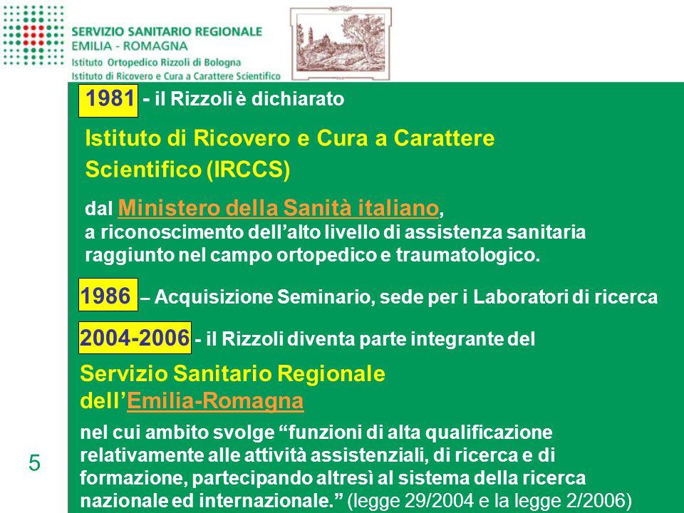5 1981 - il Rizzoli è dichiarato Istituto di Ricovero e Cura a Carattere Scientifico (IRCCS) dal Ministero della Sanità italiano, a riconoscimento dell'alto livello di assistenza sanitaria raggiunto nel campo ortopedico e traumatologico.